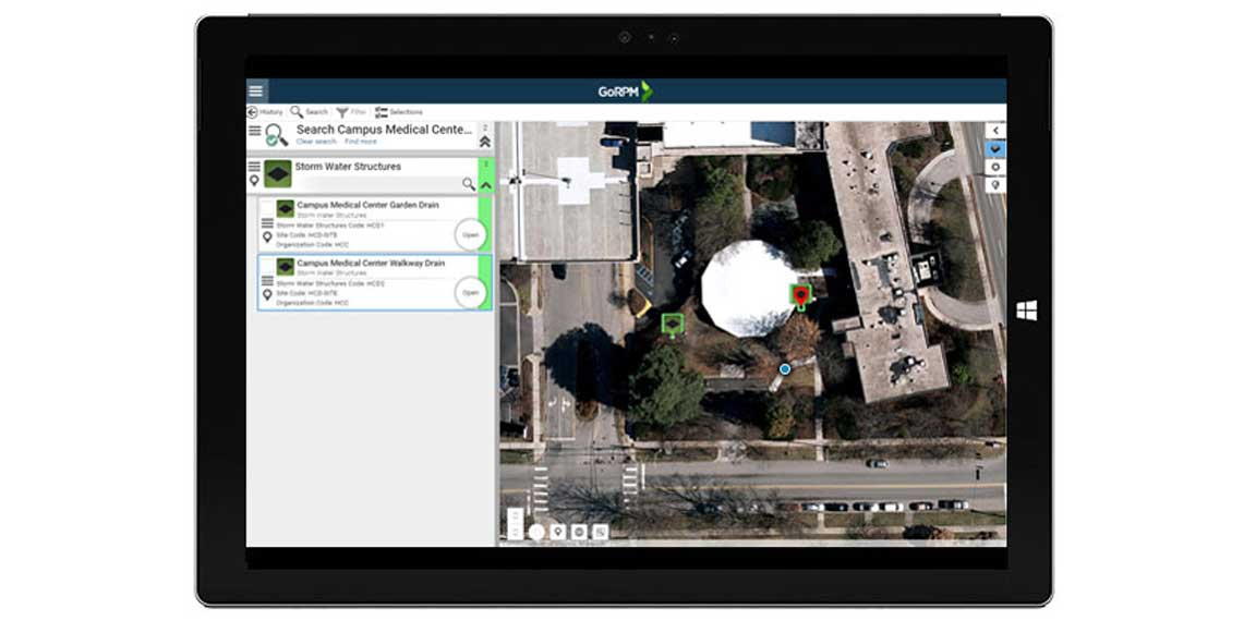 Image of a tablet running GoRPM, locating assets via GPS