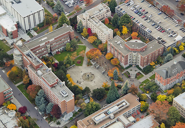 Bird's eye view image of a campus in the fall