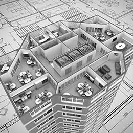 Photo of 3D office floor plan with furniture
